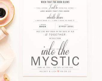 "Van Morrison ""Into The Mystic"" - Grey and Blush - Valentine's, Wedding Gift, Paper Anniversary Gift, Song Lyrics, Art Print"