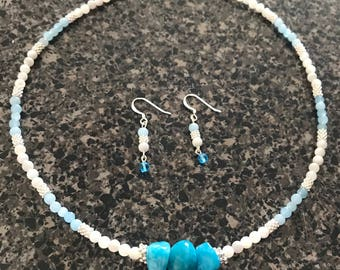 Jade and Mother of Pearl Choker/Earring Set