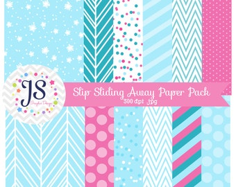 INSTANT DOWNLOAD, winter digital paper or blue and teal backgrounds for commercial use or personal use