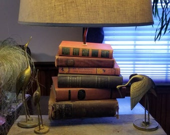 The Statement Lamp - Floating Antique Books Anchored to Reclaimed Barnwood