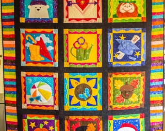 Award Winning Seasonal Appliqued and Embroidered Quilt