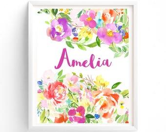 Nursery Art Floral Custom name, Monogram, Nursery Printable, Floral calligraphy 8 x 10 print art, girls