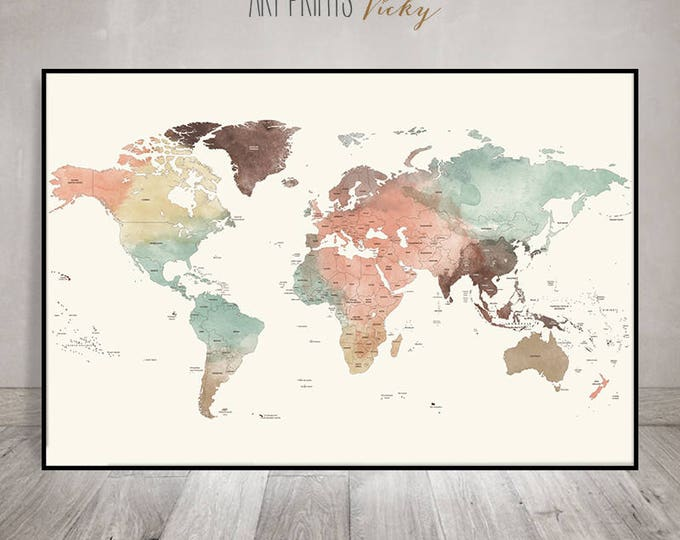 Featured listing image: Large world map poster pastel | ArtPrintsVicky.com