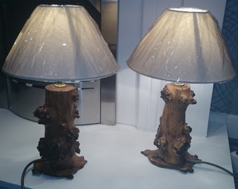 Price Reduced For Short Period Only! Unique Handmade Burr Oak Log Lamps