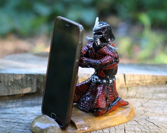 gift for men iPhone stand Father's day gift Men desk organizer samurai art friends gift cell phone stand mens docking station military