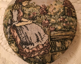Heart Shaped Tapestry Jewelry Box - Tapestry of Girl with Flowers - Black Velvet Bottom - Mirror Inside