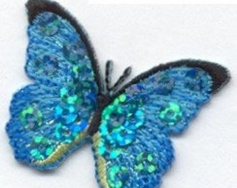 BUTTERFLY sequin blue iron on patch applique