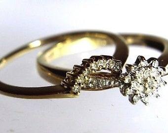 Bridal Set 2x Diamond Cluster Wedding Band 9ct Yellow Gold Rings size N ~ 6 3/4