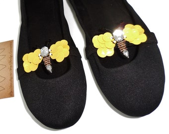 2 pc Inspired Bee Shoe Charm Clips Elastic Stretchable Rhinestone Sequin Bead