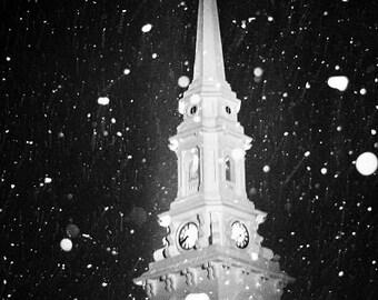 Church Steeple North Church Black and White Snowy Snow White Historical Portsmouth NH,  Fine Art Print