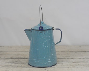 Vintage Coffee Pot Blue and White Speckle Mottled Graniteware Coffee Pot