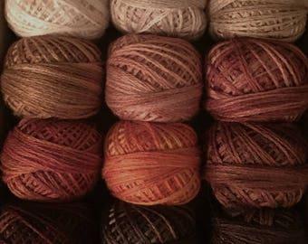 "Valdani Threads - ""Pumpkin Latte"" - Custom Collection Set/ 12 - 3 Strand Floss Hand Dyed Colorfast"