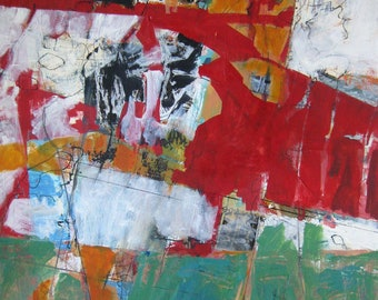 Bias: Original Abstract Painting in Red, Green, White, and Orange