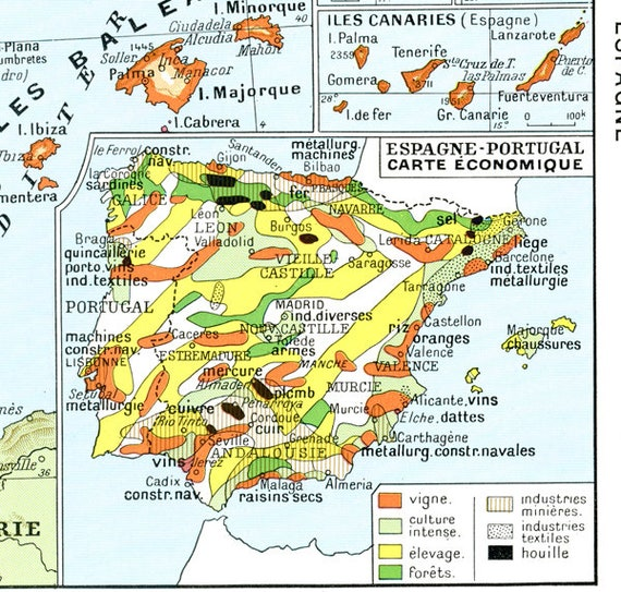 1948 Vintage Spain map Vintage Portugal map French decor