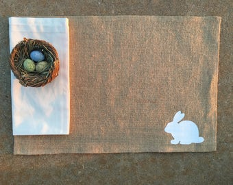Set of Four---Burlap Placemats--- Easter Bunny