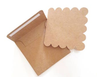 Set of 40 kraft: 20 mini envelopes, stickers and 20 mini cards double kraft, 75 x 75 mm