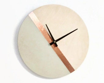 Large Modern Wall Clock, Copper Tan Wood Zero Waste Home Decor