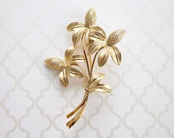 Large Coneflower Brooch, large gold-filled flower brooch, vintage gold-filled pin, oversize gold-filled brooch, big vintage brooch, on sale!
