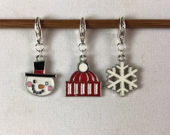 Snowman, Beanie, and Snowflake Knitting / Crochet Stitch Markers -set of 3
