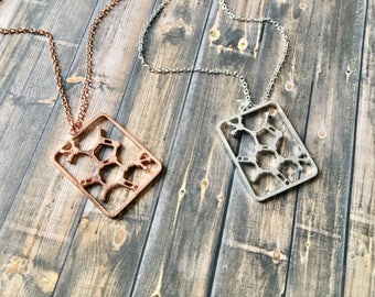 Theobromine Molecule Necklace // Silver or Rose Gold Plated // Science Jewelry // Chocoholic Gift // Chemistry, Science Geek Gift