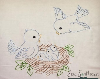 Sketched Bird Nest ~ Vintage Stitched ~ Heirloom Stitched ~ Bean Stitched ~ Instant Download