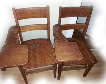Vintage Antique School House Desk Chairs 1938