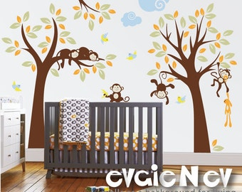 Baby Nursery Wall Decals - Trees with Branch, Monkeys and Birds Wall Stickers - PLMG040