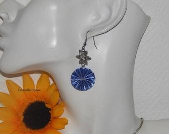 Bottle Cap earrings form blue pleated flower