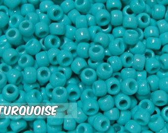 Turqouise Opaque 6x9 mm Barrel Pony Beads