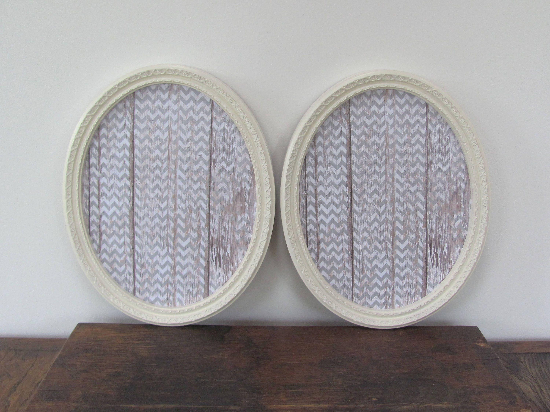 Marcos ovales grandes, antiguos Homco Vintage blanco Marcos, par de ...