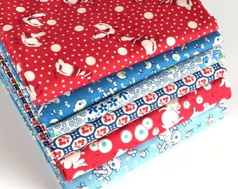 Vintage Florals & Toy Box Miniatures Fat Quarter Bundle in Red and Blue - 6pc