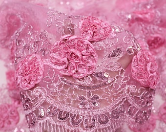 Pink 3D Melissa Double Floral Embroidered with Sequin Foil Mesh Scalloped Lace Fabric by the Yard-Style 5006