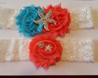 Coral and Turquoise Wedding Garter Set - Starfish Garter Set - Coral and Aqua Wedding - Beach Wedding - Island Wedding Beach Headband