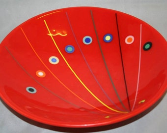 Round glass platter in an abstract pattern (PL-9)