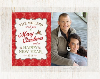 Christmas Card - Family Wish MERRY CHRISTMAS - Holly - Red - Green - Holiday Greeting - PERSONALIZED with Photo - Fast Service
