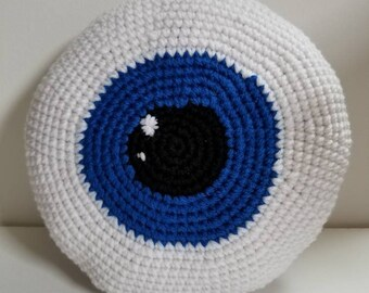 Crochet blue eyeball plush cuddler large amigurumi