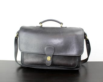 Vintage Coach Rambler Briefcase Dark Brown Leather, Foldover Flap Messenger Bag, 1990s Made in Italy, Large Interior for Laptop 040510