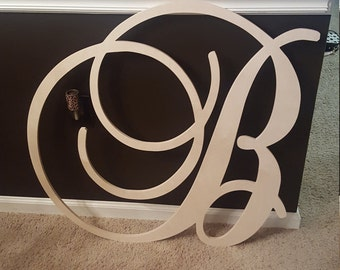 "30"" Large  Wooden Wall Letters - Monogram Letters- Wedding Decor Letters - Wooden Initials"