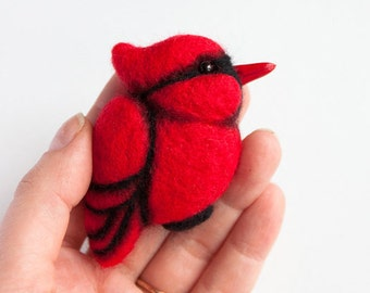 Red Cardinal Red Bird Brooch Hand Felted Brooch felt bird pins red brooches wood bird woodland jewelry animal brooch for Her Valentines day