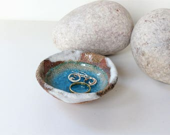 7cm Blue Glass Pool - Ceramic, Pottery, Stoneware, trinket dishes, rings earings jewellery bowl bowls UK