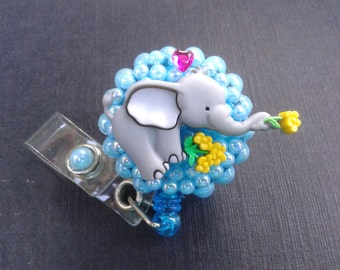 Baby Elephant ID Badge, RN Reel, Holder or Pen Holder with Clip for Work, Conventions, Etc.
