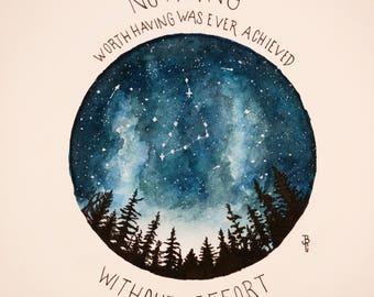 Watercolor Capricorn Constellation, Night Sky