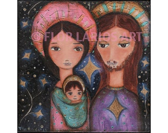 Nativity Starts - Reproduction from Painting by FLOR LARIOS (7 x 7 inches Print)