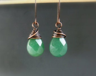 Green aventurine earrings, drop healing stone copper earrings, rustic look spiritual jewelry, birthday gift for women