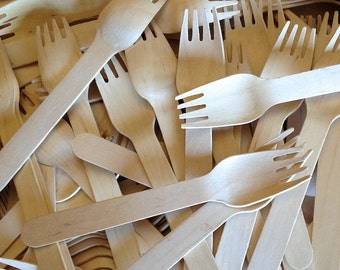 100 WOOD FORKS - Wooden Fork - Eco Friendly - Wedding Decor - Party Supplies