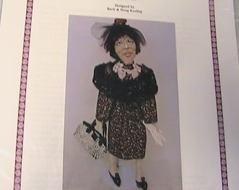 "Miss ELLIE~Barb Keeling~2005~18"" Lovely Black or ethnic PDF downloadable cloth art doll pattern"