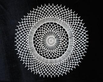 Crochet round ecru doily 19 inches