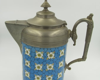 Victorian Enamel and Pewter Coffee Pot
