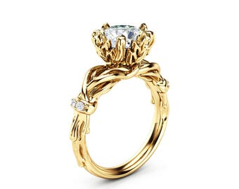 Unique 2 Ct. Moissanite Engagement Ring 14K Yellow Gold Nature Inspired Branch Wedding Ring