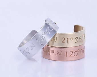 Longitude Latitude Ring,Skinny Coordinates Ring ,Personalized ring ,Customizable gift,Mother's Day Gift - 3005